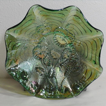 Imperial Glass Pansies Ruffled Bowl in Green