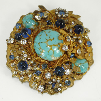 Vintage Miriam Haskell Brooch Signed Turquoise - Costume Jewelry