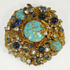 Vintage Miriam Haskell Brooch Signed Turquoise