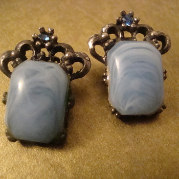 Milky blue clip-ons - Costume Jewelry