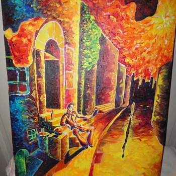 Seated Man Oil on Canvas - Visual Art