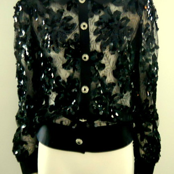1970s Adolfo Tambor Lace & Sequin Evening Blouse - Womens Clothing