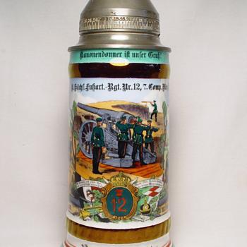 Imperial German Reservist's stein of ObergefreiterWetzig, Saxon Foot Artillery - Breweriana