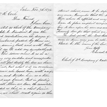 Willian H Cook civil war and death letter 1872