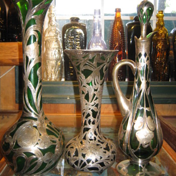 SILVER OVERLAY - Art Glass