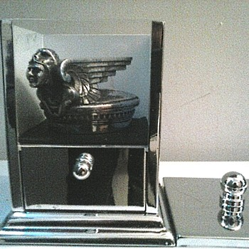 "Chrome Display Case For ""1929-31 Chevrolet ""Viking"" Radiator Cap""/""AKA"" A Cotton Ball And Q-Tip Container/ Circa 20th Century"