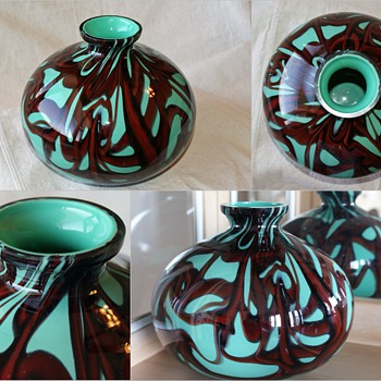 Beautiful Kralik Webbed Ball Vase - Red with Mint Green/Turquoise - Art Glass