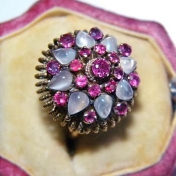 Vintage Deco Moonstone Ruby Thai Princess 18k Rose Gold Ring - Fine Jewelry