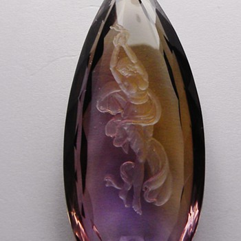 Vintage Deco Carved Lady Full Cameo Ametrine Loose Gemstone 53mm x 24mm - Fine Jewelry