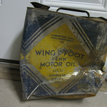 wing foot penn motor oil can