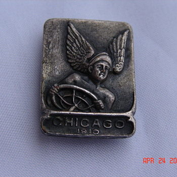 1910 Chicago Auto Show Metal Badge First Badge  - Medals Pins and Badges