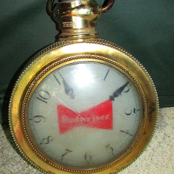vintage budweiser rotating lighted bar  clock pocket  watch  style