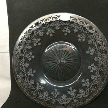Etched silver rimmed glass dish - Glassware