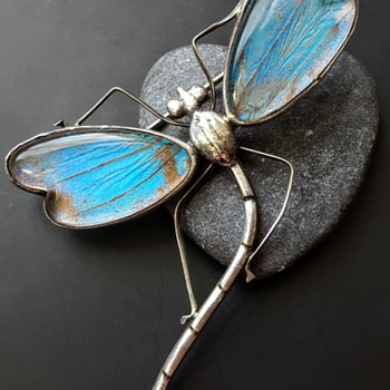 Butterfly wings and silver antique dragonfly big brooch. - Fine Jewelry