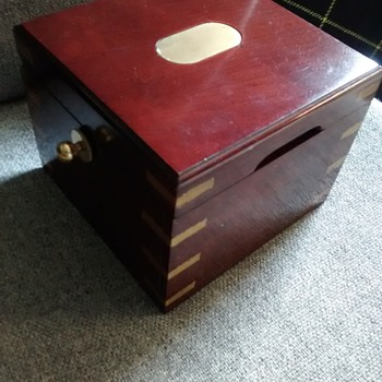Wood and brass bound box with a centre floating revolving wood insert 16cm x 16cm x 13cm - Tools and Hardware