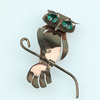 Copper owl brooch with green rhinestones - Costume Jewelry
