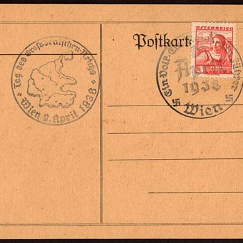 1938 - German/Austria Unification Postmarked Card - Postcards