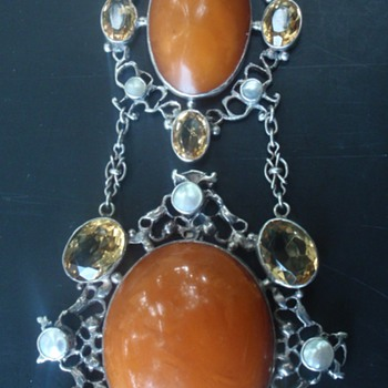 Arts & Crafts Amber, MOP & Citrine Necklace
