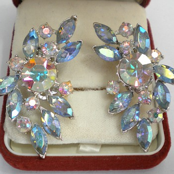 Aurora Borealis Rhinestone Climber Earrings - Costume Jewelry