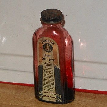 Vintage Angelus Red Oil Dye Bottle Art Deco - Bottles