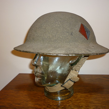 British WWII Cammo Royal Artillery steel helmet - Military and Wartime