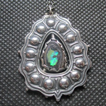 Unusual double-sided A&C Silver pendant with boulder opal
