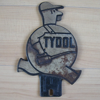 1940-1950 TYDOL License Plate Topper - Petroliana