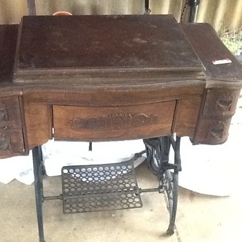 White Family Rotary Treadle Sewing Machine pre-renovation - Sewing