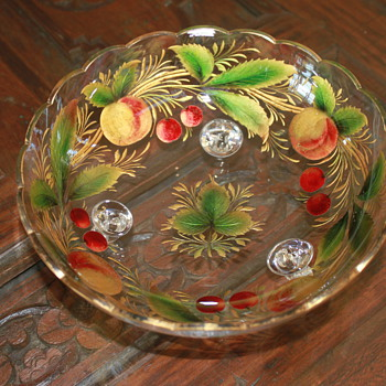 Reverse Painted Footed Glass Bowl