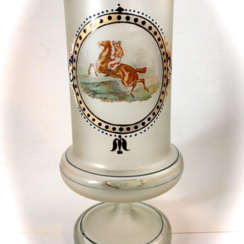 Harrach, Neuwelt Enameled Frosted Glass vase, ca. 1865 - cleaned up nicely... - Art Glass