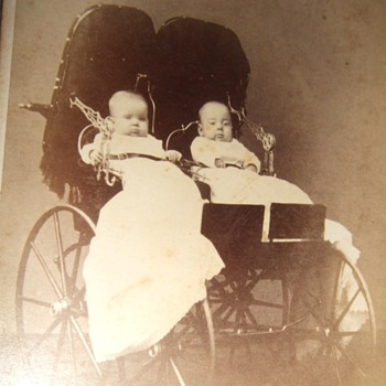 CDV of twins in a twin stroller  - Photographs