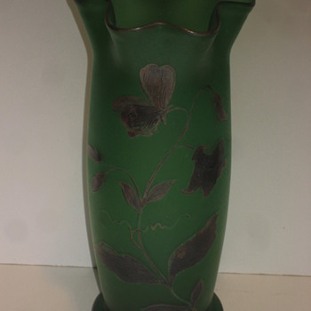 Green Vase with Sterling overlay - Art Glass
