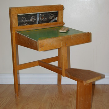 Child's Chalkboard / Pegboard desk with attached seat - Toys