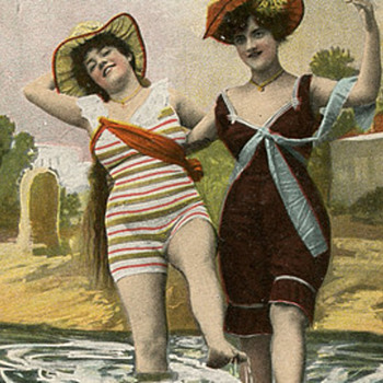 Old bathing Beauties, Postcard-- Risque In the Day?