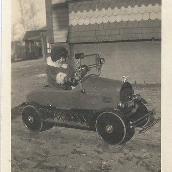 "Mom driving a pedal car 1917 ""Willy's Knight"""