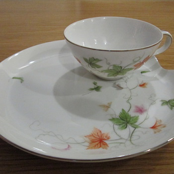 Vintage Japanese tea cup and snack plate