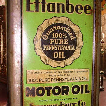 Effanbee Motor Oil...Guaranteed 100% Pure Pennsylvania Oil...Famous-Barr Co. St.Louis - Petroliana