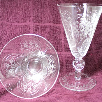Etched Crystal Goblets and Dessert Bowls - Glassware