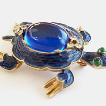 Vintage TRIFARI Alfred Philippe Blue Enameled Turtle Brooch Pin - Costume Jewelry
