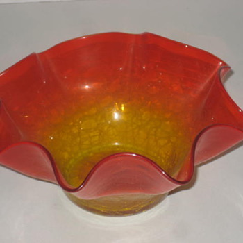 Orange and Red bowl - Art Glass