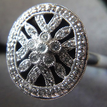 ART DECO 14k white gold diamond ring  - Fine Jewelry