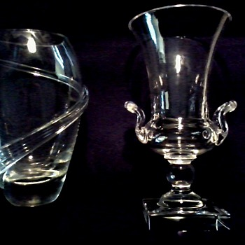 OK Maybe Not Steuben Glass Handled Urn and Vase with Applied Ribbon / Circa 20th Century