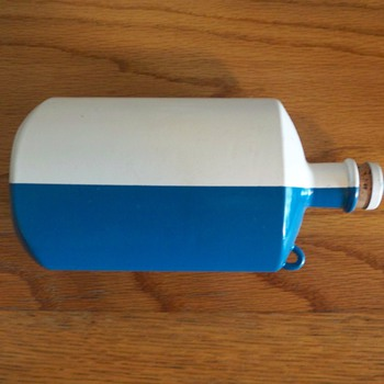 SIGG blue & white metal bottle with cork top - Bottles