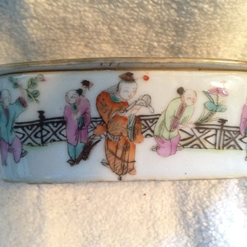 Chinese  Famille Verte Porcelain Cricket Box  - Asian