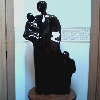 Henry Moore Inspired Family Group Figure / Black Ceramic / Unknown Maker and Age