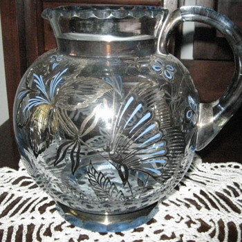 Blue glass pitcher w/matching glasses. Hand painted w/silver etching.  - Glassware
