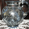 Blue glass pitcher w/matching glasses. Hand painted w/silver etching.