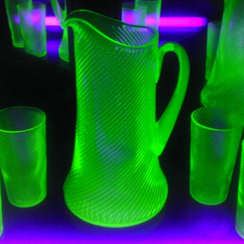 Green Uranium Corded Optic Pitcher & Tumblers
