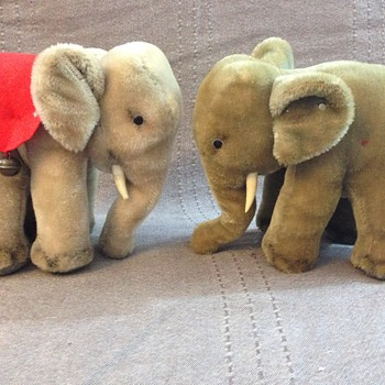 Steiff Elephant with Red Felt Saddle