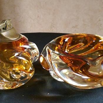 Vintage Murano Ashtray and Lighter Set - Tobacciana